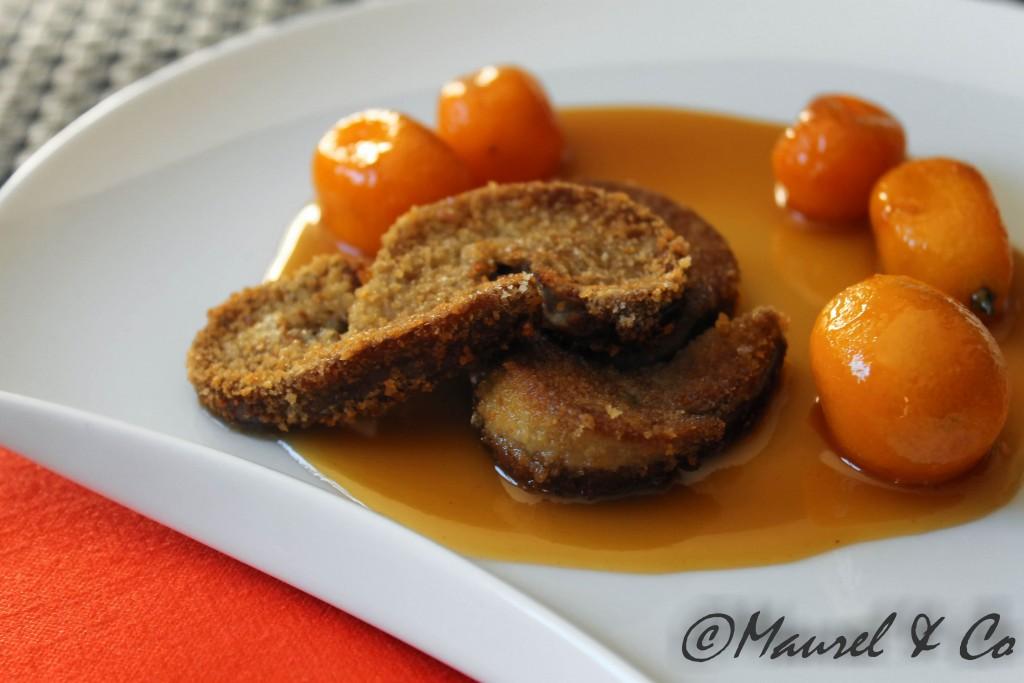 Escalopes de foie gras croustillantes aux Kumquats