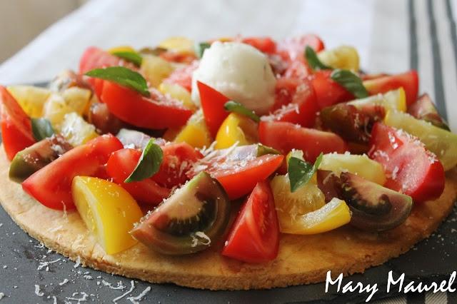 Tarte aux tomates colorées et Grana Padano et son sorbet basilic